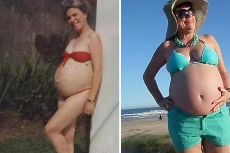 Nivalda grávida de Gleyce em 1983 e no fim de 2014, grávida do neto