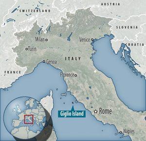 mapa ilha Giglio