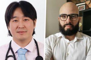 À esquerda, o cardiologista brasileiro Roberto Yano e à direita o neurocientista e psicólogo português Fabiano de Abreu