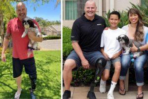 Polícia que perdeu uma perna adota um cão sem duas patas