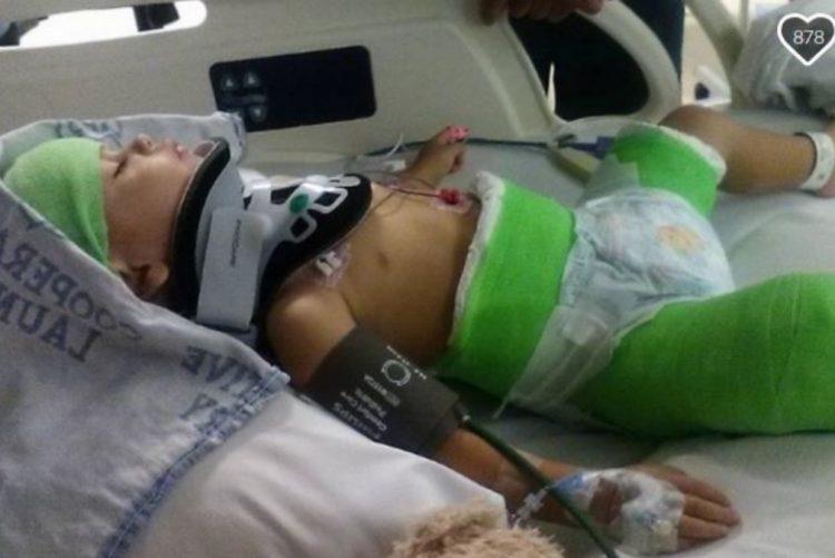 Bebé foi transportado em estado grave para o hospital