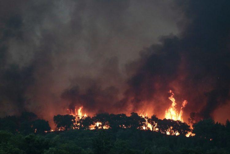 Frente de fogo já é visível perto da vila de Monchique
