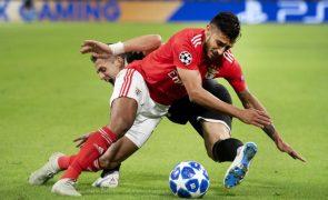 Salvio fora dos convocados do Benfica para deslocação a Tondela