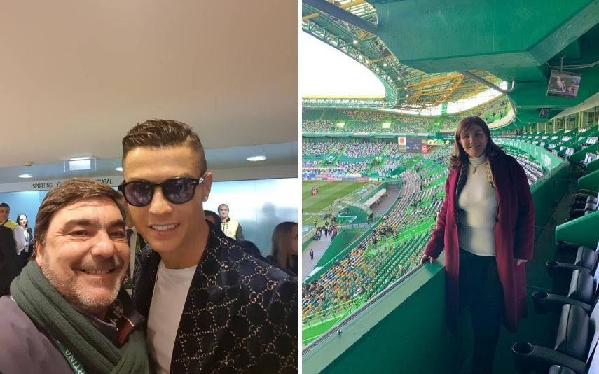 Cristiano Ronaldo, Dolores e Georgina a assistir ao jogo do Sporting-Benfica