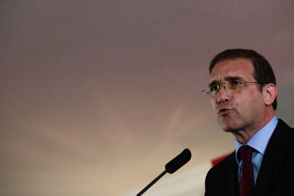 Passos Coelho lamenta que Portugal esteja a