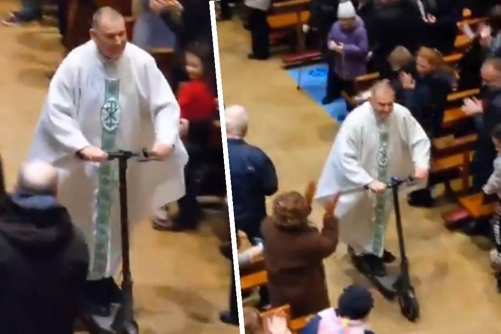 Padre abandona missa de trotinete elétrica oferecida no Natal [vídeo]