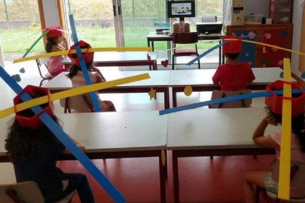 Crianças usam chapéus com hélices para manter distanciamento social