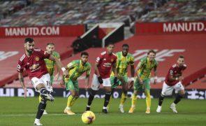Bruno Fernandes marca de penalti e dá vitória ao Manchester United