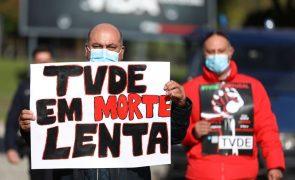 Cerca de 30 motoristas de TVDE protestam em Lisboa para pedir aumento de rendimentos