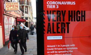 Covid-19: Londres e sudeste de Inglaterra com novo confinamento