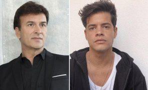 Tony Carreira e Ivo Lucas juntos na missa que assinala um mês sobre a morte de Sara Carreira
