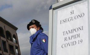 Covid-19: Novo aumento de casos diários em Itália faz um total de três milhões de infeções
