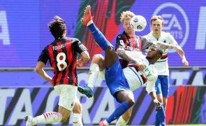 AC Milan empata com Sampdoria e Adrien Silva é expulso