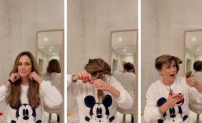 Helena Costa corta o cabelo em casa e resultado é hilariante