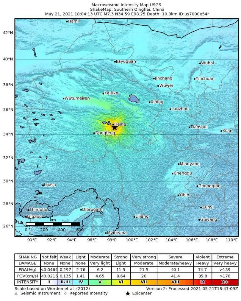 Segundo sismo registado na China, agora na província de Qinghai de magnitude 7,3