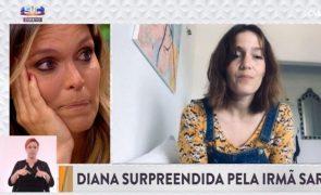 Diana Chaves, em lágrimas, agradece à irmã: