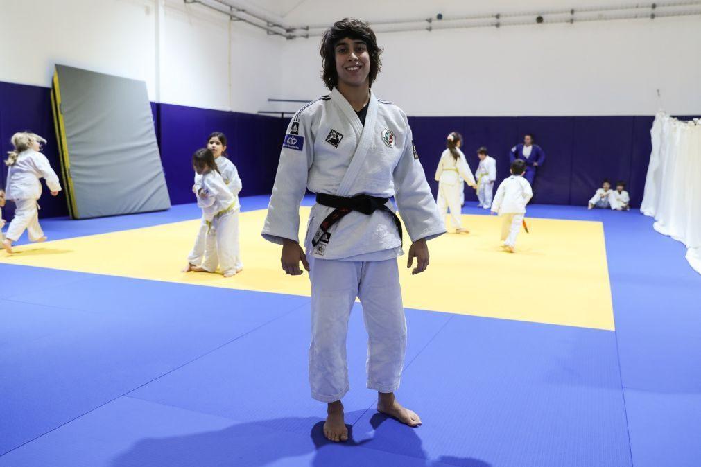 Catarina Costa e Rodrigo Lopes no início dos Mundiais de judo em Budapeste