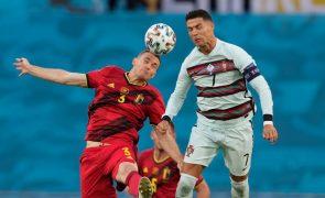 Euro2020: Portugal perde com a Bélgica por 1-0 ao intervalo