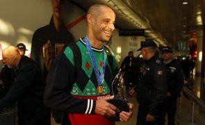 Ex-jogador Madjer no sorteio do Mundial de futebol de praia Rússia2021