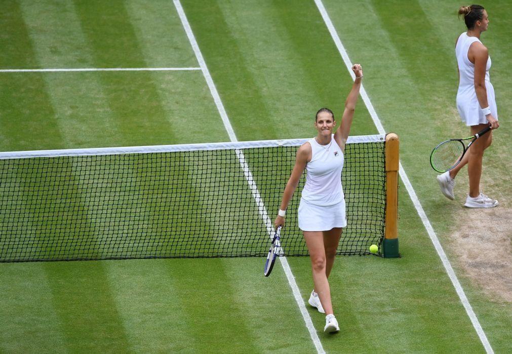 Wimbledon: Pliskova vence Sabalenka e disputa com Barty final entre estreantes