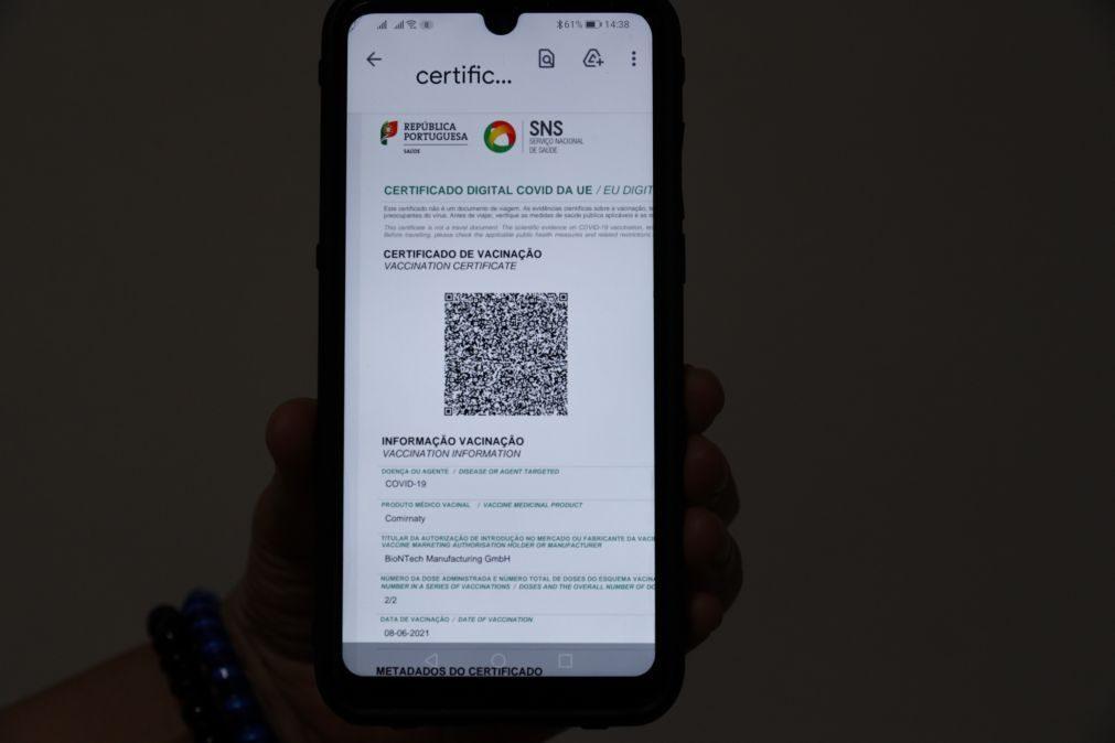 Covid-19: Cerca de 30% dos portugueses já têm o certificado digital europeu
