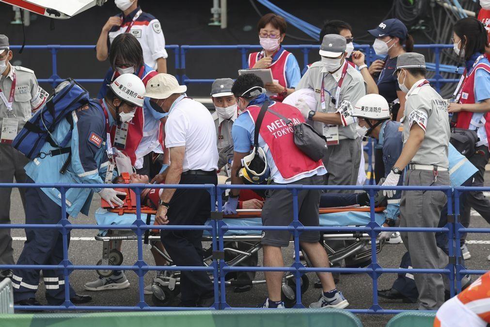 Tóquio2020: Ciclista de BMX consciente e estabilizado após queda aparatosa