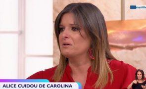 Maria Botelho Moniz em lágrimas ao falar de